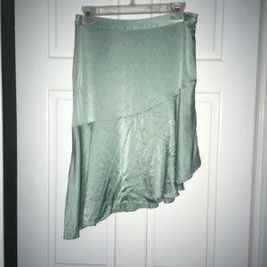 H&M mint green asymmetrical silk skirt, size 6